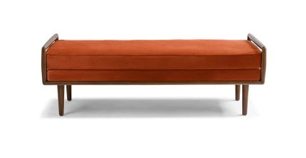 Article Ansa Mid-Century Modern Bench Persimmon Orange