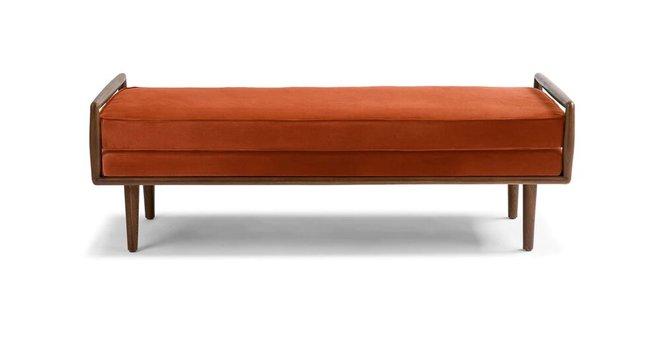 Article Ansa Mid-Century Modern Bench Persimmon Orange