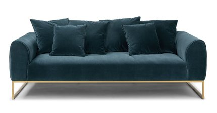 Kits Mid-Century Modern Sofa Pacific Blue And Brass