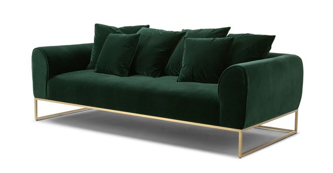 Kits Mid-Century Modern Sofa Balsam Green And Brass