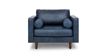 Sven Mid-Century Modern Tufted Chair Oxford Blue