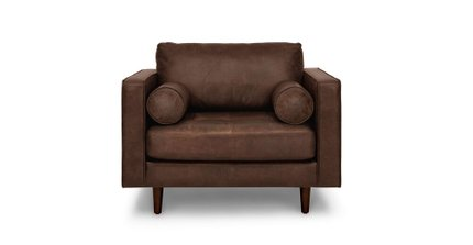 Sven Mid-Century Modern Tufted Chair Charme Chocolat