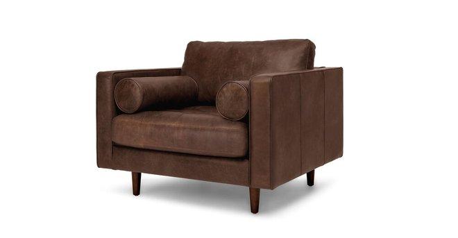 Sven Mid-Century Modern Tufted Chair Charme Chocolat