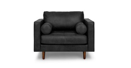 Sven Mid-Century Modern Tufted Chair Oxford Black
