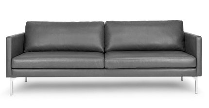 Echo Contemporary Leather Sofa Oxford Gray