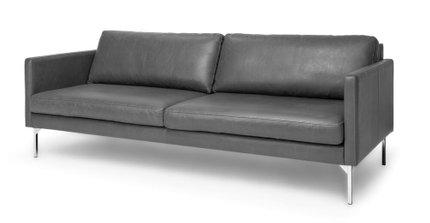 Echo Contemporary Leather Sofa Oxford Gray
