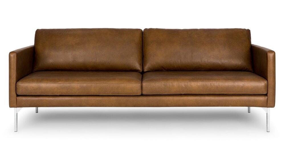 Echo Contemporary Leather Sofa Oxford Tan