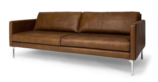 Echo Contemporary Leather Sofa Oxford Tan