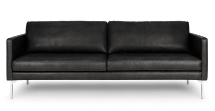 Echo Contemporary Leather Sofa Oxford Black
