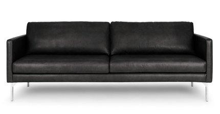 Echo Contemporary Leather Sofa Oxford Black