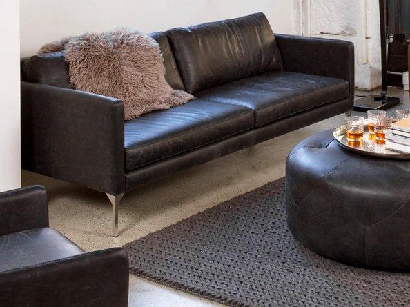 Article Echo Contemporary Leather Sofa Oxford Black