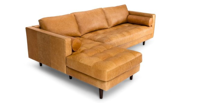 Sven Mid-Century Modern Tufted Leather Left Sectional Chaise Tan