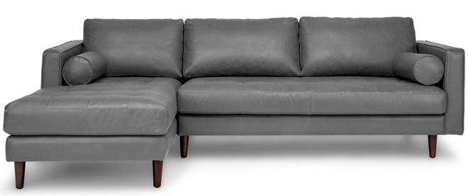 Article Sven Mid-Century Modern Tufted Leather Left Sectional Sofa Gray