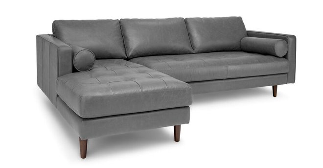 Sven Mid-Century Modern Tufted Leather Left Sectional Chaise Gray