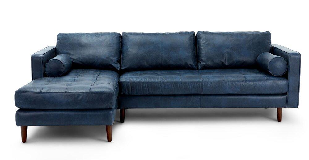 Sven Left Sectional Sofa Oxford Blue