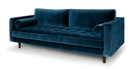 Sven Mid-Century Modern Sofa Cascadia Blue