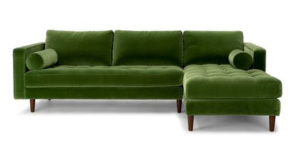 Article Sven Right Sectional Sofa Grass Green