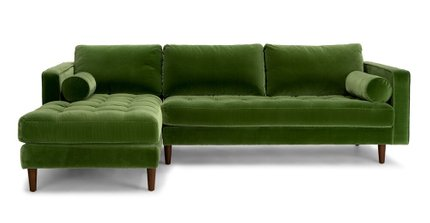 Sven Left Sectional Sofa Grass Green