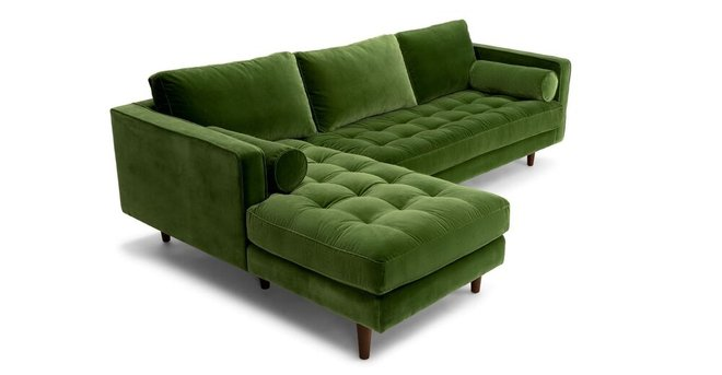 Sven Left Sectional Sofa Grass Green