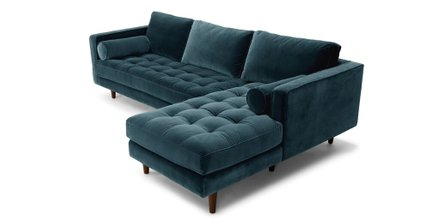 Sven Right Sectional Sofa Pacific Blue
