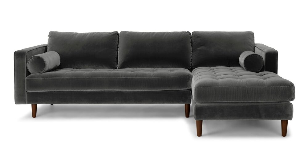 Sven Right Sectional Sofa Shadow Gray