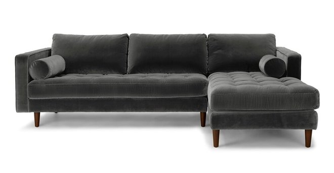 Article Sven Right Sectional Sofa Shadow Gray