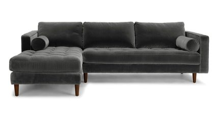 Sven Left Sectional Sofa Shadow Gray