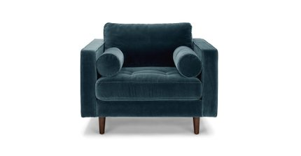 Sven Tufted Velvet Chair Pacific Blue