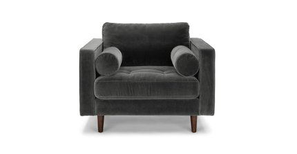 Article Sven Tufted Velvet Chair Shadow Gray