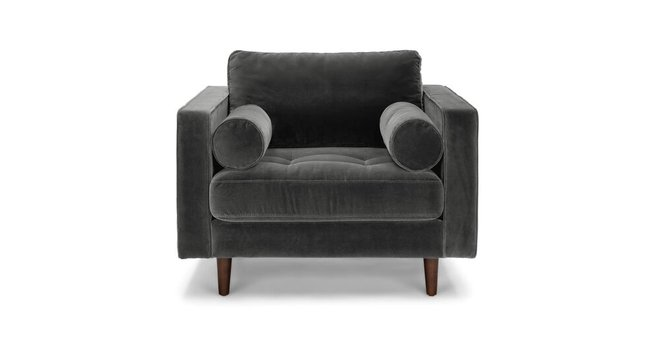 Sven Tufted Velvet Chair Shadow Gray