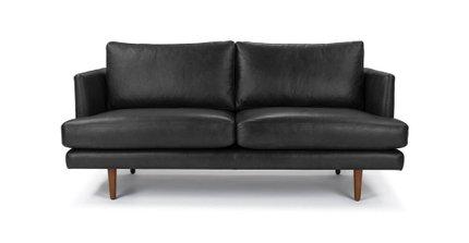 Burrard Mid-Century Modern Love Seat Bella Black