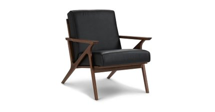 Otio Mid Century Modern Leather Chair Black