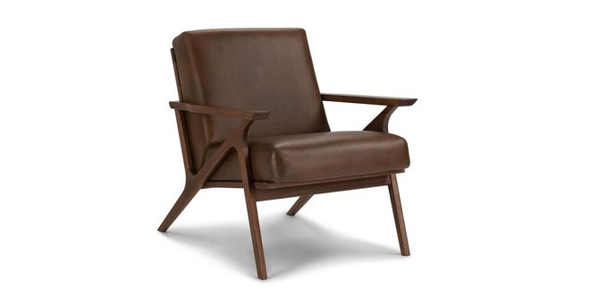 Otio Mid Century Modern Leather Chair Brown