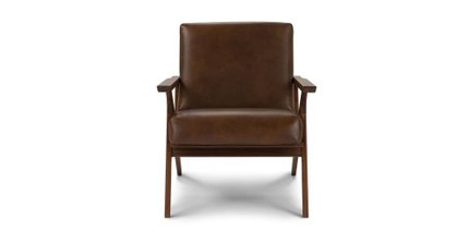 Otio Mid Century Modern Leather Chair Brown