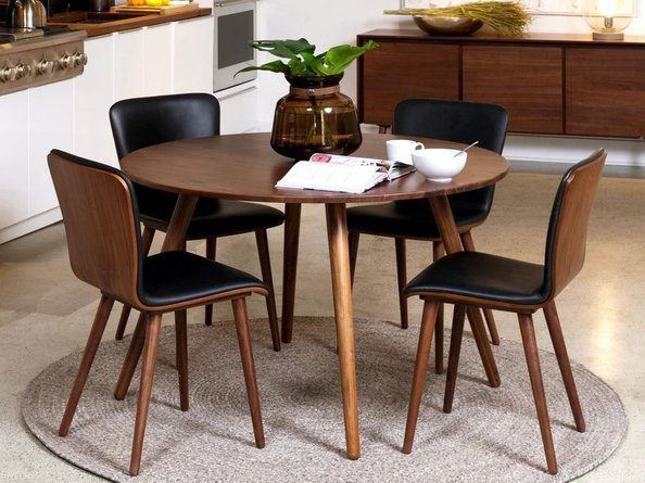 Article Sede Mid Century Modern Dining Chair Leather Black (Set Of 2)