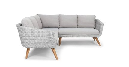 Ora Contemporary Symmetrical Sectional Outdoor Sofa Beach Sand