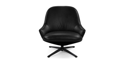 Twirl Swivel Leather Chair Bella Black