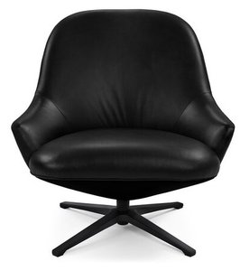 Article Twirl Swivel Leather Chair Bella Black
