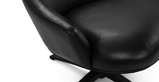 Article Twirl Swivel Leather Chair Bella Black