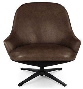 Article Twirl Swivel Leather Chair Bella Brown