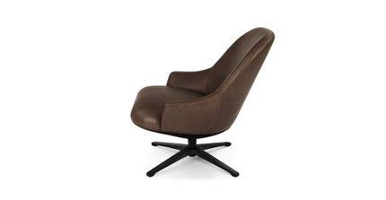 Twirl Swivel Leather Chair Bella Brown