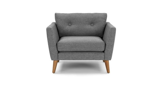 Emil Mid-Century Modern Button Tufted Lounge Chair Gravel Gray