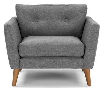 Article Emil Mid-Century Modern Button Tufted Lounge Chair Gravel Gray