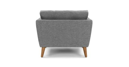 Emil Mid-Century Modern Button Tufted Lounge Chair Gray