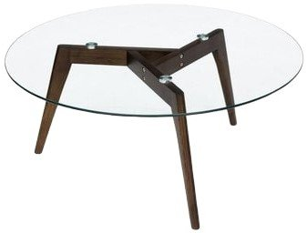 Article Clarus Mid Century Modern Coffee Table Glass And Walnut
