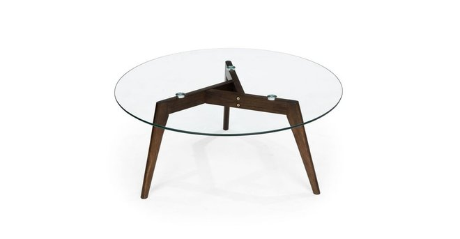Clarus Mid Century Modern Coffee Table Glass Walnut