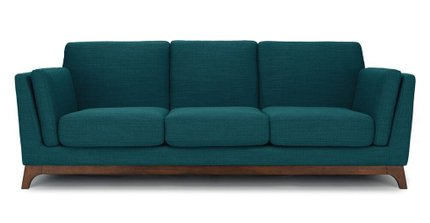 Article Ceni Mid-Century Modern Fabric Sofa Lagoon Blue