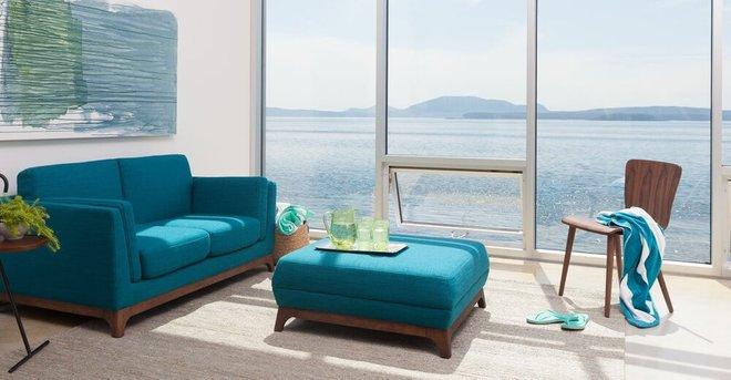 Ceni Mid-Century Modern Fabric Sofa Blue