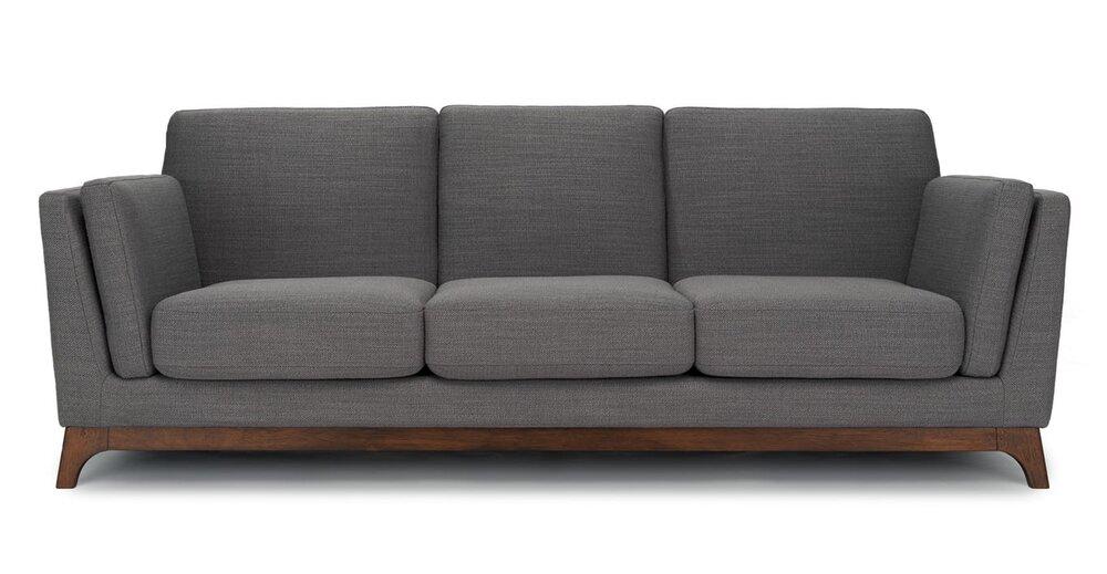 Article Ceni Mid-Century Modern Fabric Sofa Pyrite Gray