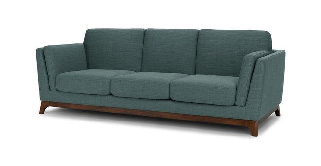 Ceni Mid-Century Modern Fabric Sofa Aqua